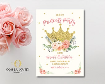 Princess Invitation, Princess Party Invitation, First Birthday Invite, Printable, DIY, Crown Invite, Floral