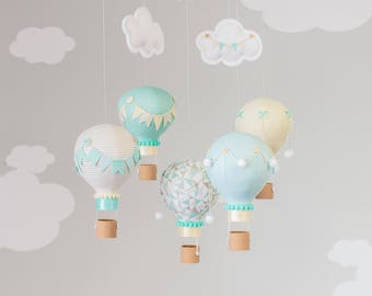 Aqua Taupe and Yellow Gender Neutral, Hot Air Balloon Baby Mobile, Nursery Decor, i239