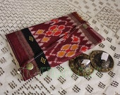 Large Assuit and Sari Scrap Zils Wallet- Burgundy, Gold & White Tribal Ikat Bellydance Zills Pouch