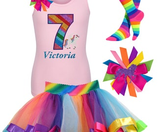 7th Birthday Fairytale T Shirt Rainbow Unicorn Dress Pony Party Outfit Pink Unicorn Kids Shirt Unicorn Knee Socks Hair Bow Rainbow Tutu  7