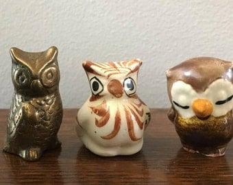 Miniature Owls  ~ 3 Mini Vintage Owls