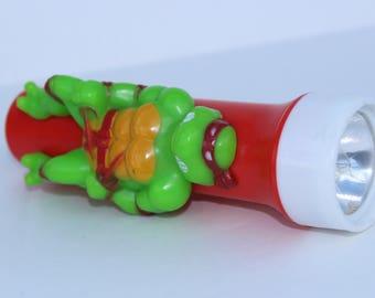 Vintage Ninja Turtles Torch Flashlight eighties - 1990 -Rafael Ninja Teenage Hero turtles - Memorabilia - Red-Retro Kitsch