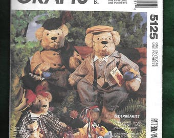 Vintage 1990 McCall's 5125 ElderBearies Stuffed Bears, 19 And 15 Inches Complete With Clothes By Faye Wine, UNCUT