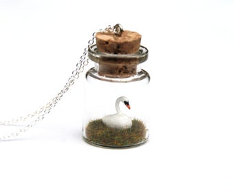 Swan Necklace Jar - Ornithology Bird Gift - miniature mute swan, waterfowl, wetlands, duck - 3cm tall glass jar, 16 inch chain