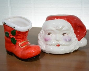 LOT of Planters - Santa Head and Boot