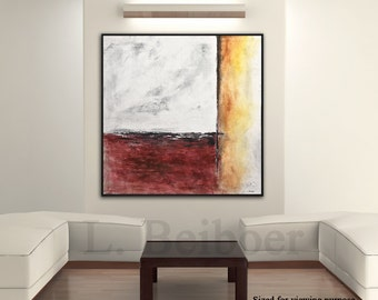 Painting original abstract square 36x36 large painting gray red acrylic painting abstract cuadro modern art by L.Beiboer