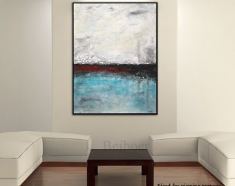 Original large painting textured abstract blue raw modern oil painting artwork extra large palette knife minimalist wall art by L.Beiboer