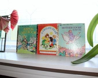 3 Little Golden Books Mother Goose Animal Quiz Child's Year Vintage Childrens Book