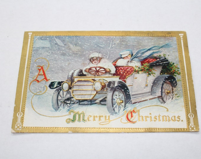Antique Christmas Postcard Old Fashioned Car 1910s