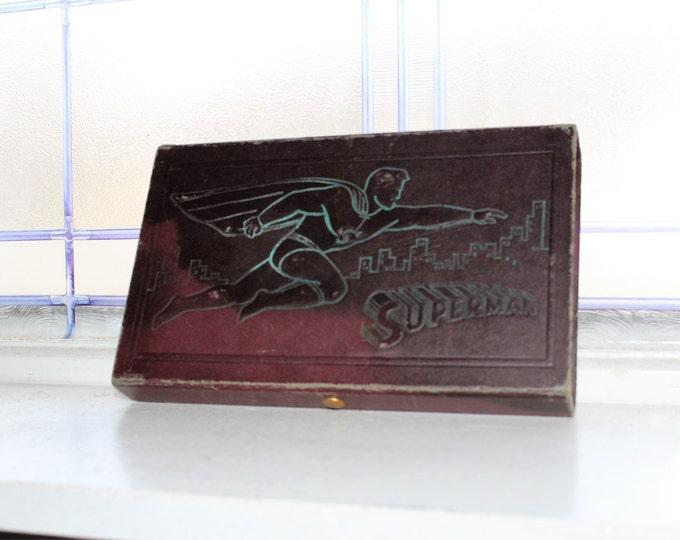 Vintage 1940s Superman Pencil Case w Skyline Cover & Slideout Drawer