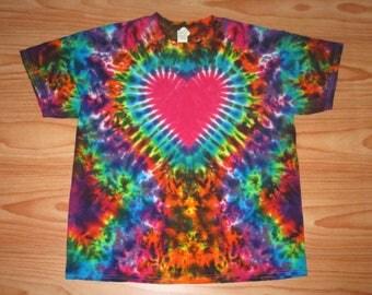 S M L Xl 2x 3x 4x 5x 6x Heart Tie Dye- Kids Adult Plus Size tie dye Deep Crush Heart Shirt