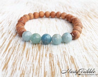 Aquamarine & Raw Wood Bracelet, March Birthstone, Birthday Gift, Aquamarine Jewelry, Gemstone Bracelet, Boho Jewelry, Healing Bracelet