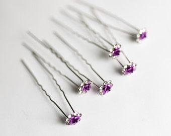 20 Hair Forks - Silver - 70mm - Dark Violet Purple - 11mm Flower - Ships IMMEDIATELY from California - HF64