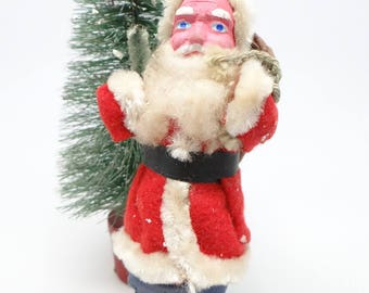 Vintage 1940's 5 1/2 Inch SANTA With Hand Painted Clay Face, Christmas