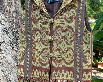 Little Boys Hoodie Vest In Hand Loomed Ikat With Fringe, Earthy Natural Cotton Size 5 - 6 Jacket - FREE Worldwide Shipping