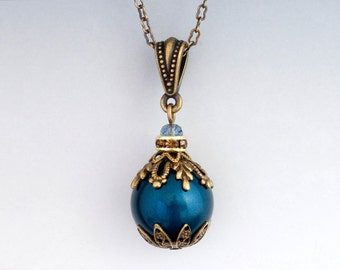 Dark Teal Necklace - Teal Pearl Necklace - Aqua Necklace - Filigree Pearl Pendant - Nickel Free Necklace - Antiqued Brass Jewelry (Adriana)