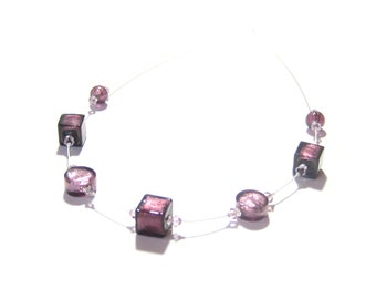 Murano Glass Purple Cube Sterling Silver Illusion Necklace, Italian Jewelry, Venetian Glass Amethyst Necklace, Gift For Her, Art Necklace