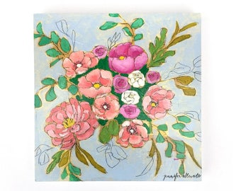 Modern floral bouquet painting wall art - A Bouquet for Katherine