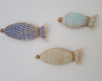 Wood Fish in Fishing Net - Set of 3 - Fish Decor