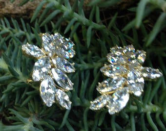 Gold, Crystal Bridal Earrings, Marquise Crystal, Wedding Jewelry