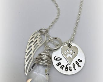 Personalized Pet Memorial Sterling Silver Necklace with paw print charm, Angel Wing charm and Crystal Remembrance Loss of Pet