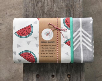 Reversible Organic Cotton Baby Blanket - Designer Organic cotton knit fabrics.