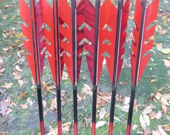 "In Stock Razorback Arrows 55-60#, full length 31"" arrows, dozen arrow set, traditional wood archery arrows"
