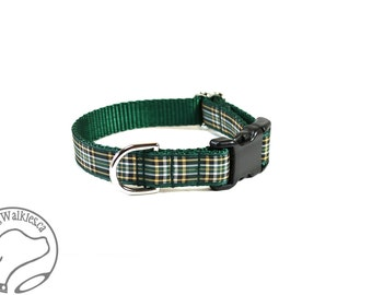 "Irish National Tartan Dog Collar // 3/4"" (19mm) Wide // Green and Gold Plaid // Martingale or Side Release //Choice of collar style and size"