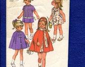 1970's Simplicity 9246 Trendy Little Girl's Cape & Drop Waist Dress Pattern Size 5