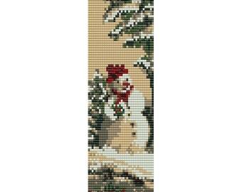 Snowman Loom Bead Pattern, Christmas Bracelet Cuff, Bookmark Pattern, Seed Beading Pattern Miyuki Delica Size 11 Beads, PDF Instant Download