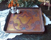 Small Square Copper Tray, Pfaltzgraff Village Pattern Punched Copper Trivet