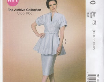 Retro Style Two Piece Dress Pattern McCalls 7190 Sizes 14 - 22 Uncut
