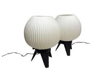 Vintage Mid Century Modern Lamps, Tripod Bubble Orb Globe Lamp Pair