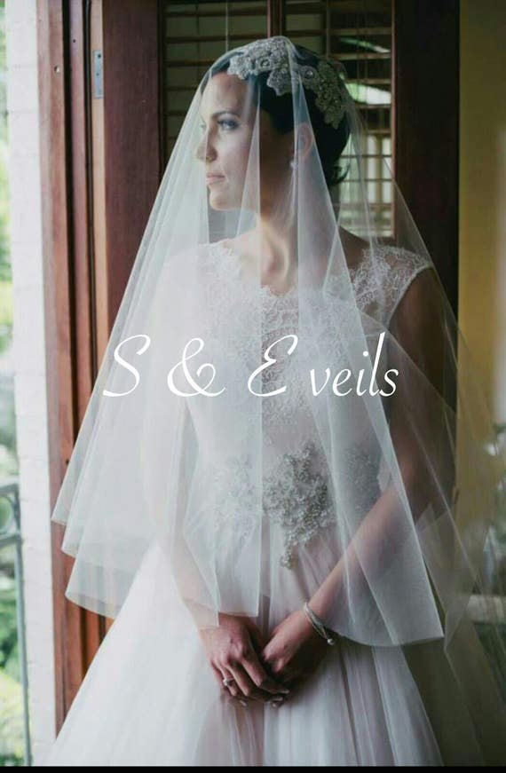 Cathedral Drop Veil - Raw Edge veil with metal comb