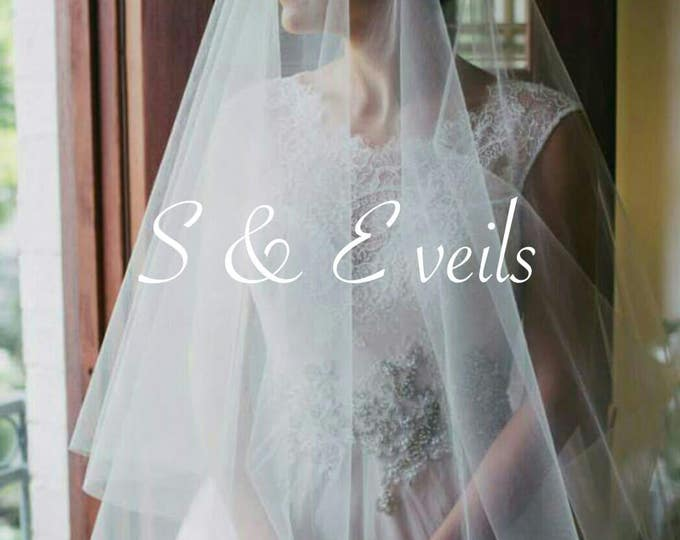 2-Tier CATHEDRAL DROP Veil // bridal veil, long veil, blusher veil, champagne, ivory, diamond white, blush color, champagne color