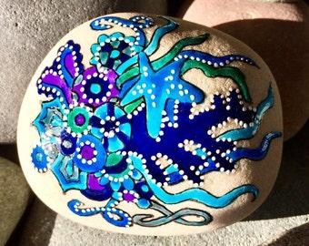 under the sea / painted rocks / painted stones / paperweights / terrariums / rock art / beach house decor / beach house art / sea stones