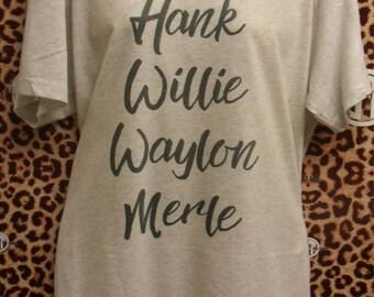 Hank Willie Waylon Merle printed v-neck t-shirt  adult s, m, l, xl, xxl (2X)