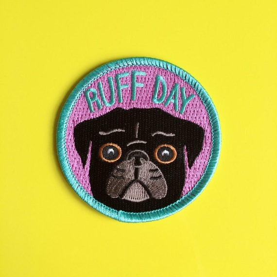 Pug iron on patch black dog funny