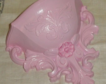 HOMCO Shabby Chic Hollywood Regency PINK Vintage Wall Home Decor Wall Pocket/ Planter
