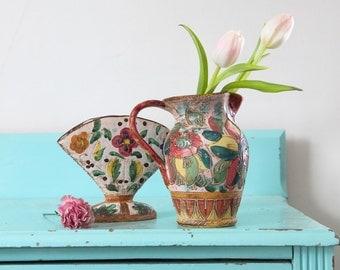 Vintage Graffito Fiori Italian ceramics hand-crafted, Vintage Italian ceramic case, hand painted Italian ceramics, Italy kitchen decor