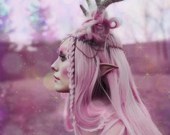 READY TO SHIP Romantic pink faux antler headpiece headdress