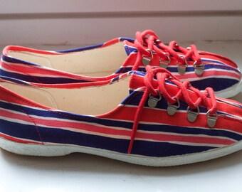 Retro sneakers 60s striped canvas size 38