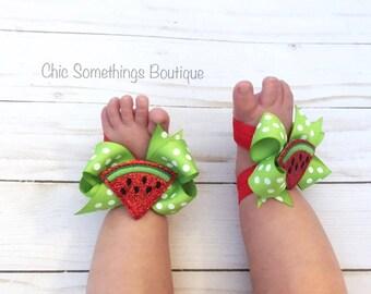 Watermelon Birthday, First Birthday watermelon, watermelon shoes, watermelon birthday, baby bare feet sandals, baby barefoot sandals,