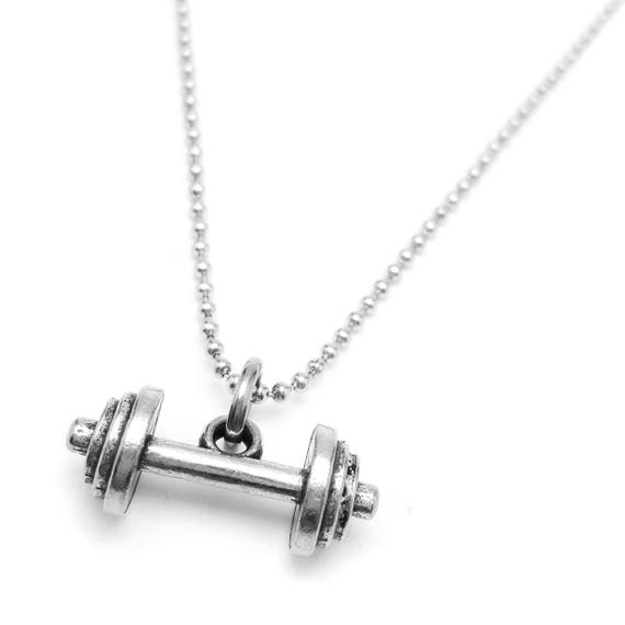 Weightlifting Mini Horizontal Barbell Necklace - Fitness Jewelry - Fitness Necklace - Gym Necklace - Workout Jewelry - Bodybuilding