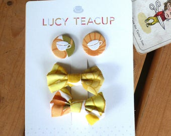 Hair clip & Pin Button Badge Accessories Packaged Set- vintage yellow hair bow and fabric teacup badge. Retro orange floral fabric