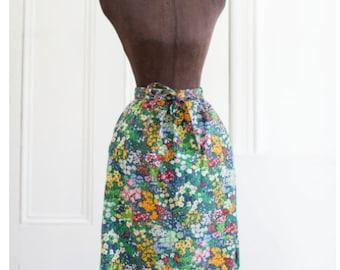 Belted High Waisted Floral Skirt w Pockets. // SM. Monet Flower Garden.