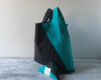 geometric lunch bag with black and light blue cotton / capaciuos grocery bag / minimalist tote bag for men and for woman / men shopping bag