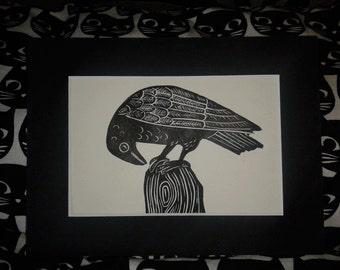 Black Raven Lino Print, Original hand Printed Lino Print
