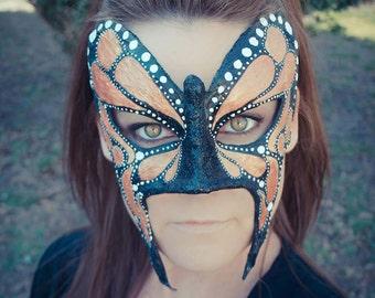 Monarch Butterfly Mask, Butterfly Mask, Fairy Mask, Woodland Mask, Halloween Mask, Mardi Gras Mask, OOAK Mask,Burning Man Costume,Pagan Mask