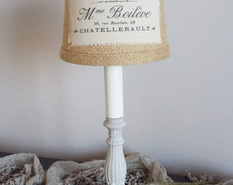 Lamp French Burlap Shade Paris Grey Candlestick Accent Shabby Chic Romantic Cottage French Farmhouse Style Decor